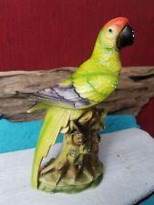 "VTG Parrot Exotic Bird Figurine Tilso handpainted red yellow Green 8"" Tall Japan"