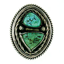 Vintage Native American Navajo Silver Green Turquoise Platter Cocktail Ring Sz 6