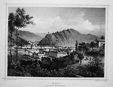 Bad Ems Lahn Schweizerhäuschen seltener  echter alter Stahlstich 1850