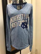 UNC Carolina Tarheels SLIM FIT Ladies LARGE Long-Sleeve distressed T-shirt NEW