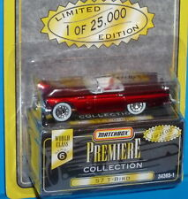 1995 MATCHBOX Premiere 57 Ford Thunderbird T-Bird Red Real Riders 1/25,000 1957