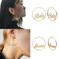 Creative Letter Hoop Earrings Jewelry Elegant Baby Femme Round Statement Earring