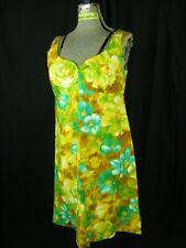 Vtg 60s Yellow Green Brown High Waist Floral Summer Mod Dress-Bust 34/2XS