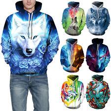 3D Wolf Printed Couples Hoodie Jumper Sweatshirt Womens Long Sleeve Tops Outwear