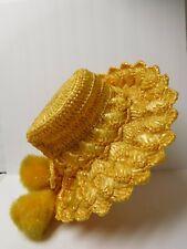 Vintage Yellow Plastic Straw Brim Hat with PomPoms
