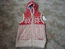 Animal Cream/red Knitted Gilet With Hood and Tartan-style Lining Size 8
