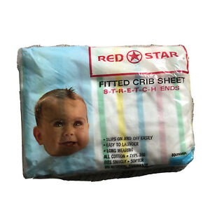 Vtg red star fitted crib sheet new Sealed package 100% Cotton Boy Girl Novelty