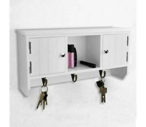 Small Wall Mounted Cabinet Rack Wooden Hallway Storage With Doors Key Hooks Unit