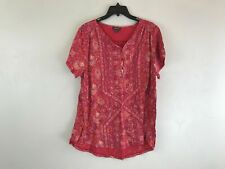 Women's Lucky Brand Printed Short Sleeve 1/2 Button Top, Size 1XL - Red/Multi