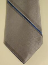NWT DKNY men's gray blue stripe Hudson River silk neck tie necktie new