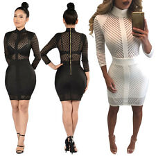Sexy Women Black Long Sleeve Bandage Bodycon Mesh Club Party Cocktail Mini Dress