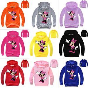 Kids Minnie Mouse Pullover Sweatshirt Cartoon Hooded Hoodie Jumper Coat T-shirts