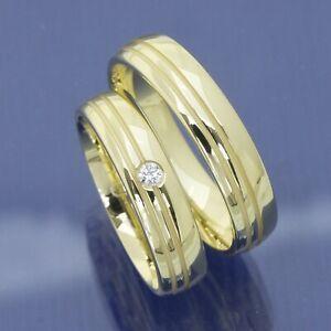 Glänzende Trauringe, Eheringe, Hochzeitsringe mit Glanzrillen P9165702