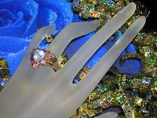 Vintage Estate 10k Gold AQUAMARINE PINK TOURMALINE Trillion Gemstone Ring Sz 10