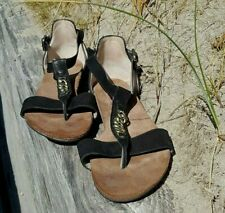 PAUL GREEN Ladies Flat Sandals UK 6.5 Black Suede T-bar Chain Detail Gladiator