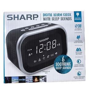 Sharp LED Alarm Clock With 6 Soothing Nature Sleep Sounds & Dual Alarm BLACK NIB