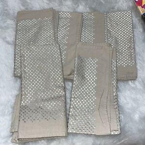 West Elm Napkins Silver Beige Geometric Set Of 6 Cotton