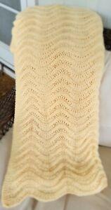 Crochet Afghan 80 x 60 Yellow Beige Blanket