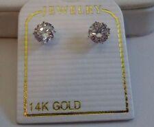 14K SOLID WHITE GOLD STUD EARRINGS W/ .50 CT LAB DIAMONDS/ 5MM IN DIAMETER