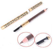 Leopard Waterproof Long last Brown Eyeliner Eyebrow Pencil + Brush Make Up Kit