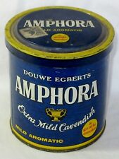 "Vintage Douwe Egberts Amphora Pipe Tobacco Blue Tin Can Holland 4 1/2"" L@@K!"