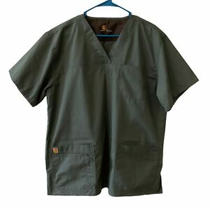 Carhartt Mens Utility Ripstop Scrub Top Size Large Multi Pockets Olive Green