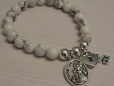 CALMING GEMSTONE BRACELET-GUARDIAN ANGEL-LOCKET-LOVE CHARMS-WHITE HOWLITE  8MM