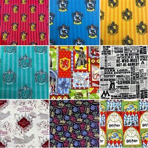 Harry Potter Hogwarts House Printed Fabric 100% Cotton Material 110cm