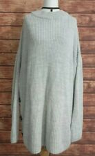 Ladies Chunky Knit WINTER Jumper Silver/Grey Size UK-14 Buttons Oversized VGC