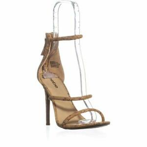 Bebe Womens Berdine Almond Toe Casual Ankle Strap Sandals, Gold, Size 8.0 ar4y