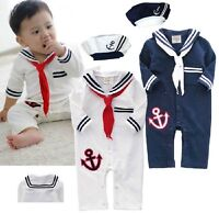 Baby Boy Girl Sailor Carnival Fancy Costume Dress Outfit Suit+HAT Clothes Set