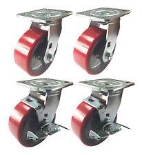 "4 Swivel Casters 5"" Heavy Duty Cast Iron Hub Non Skid Mark Wheels 2 Swivel Brake"