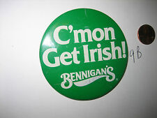 "OLD Bennigan's 1980s PinBack 3"" Button PIN BADGE C'mon Get Irish! ST PATRICK DAY"