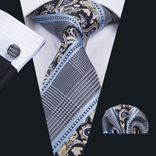 USA Black White Blue Paisley Mens Ties Neck Tie Pocket Square Cufflinks Business