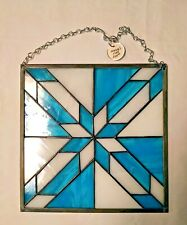 Stained Glass Blue and White Hunters Star Window Panel