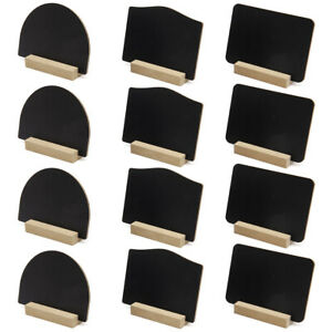 12Pcs Mixed Table Top Blackboard with Stand Memo Notice Sign Chalk Chalkboard