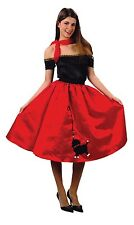 Ladies 1950s 50s Red Bopper Skirt & Scarf Fancy Dress Costume Outfit 10-12-14