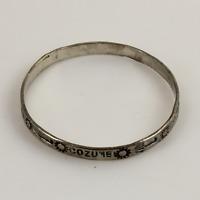 925 Mexico Taxco Sterling Silver Bangle Bracelet w/Cozumel Design