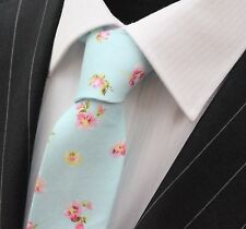 Tie Neck tie Slim Light Blue with Pink & Yellow Floral Quality Cotton T6126