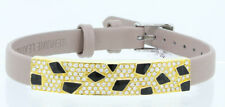 14 K Matte Yellow Gold Black Enamel Diamonds Bracelet Leather Band