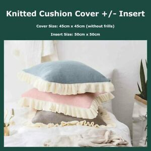 Ruffled Edge Knitted Throw Cushion Covers +/- Insert Frill Trim Pillow Cases