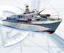 "Model Boat PLAN Semi Scale 38"" R/C Black Marauder F/S Printed Plans & Article"