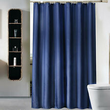 Waterproof Fabric Bathroom Shower Curtain Dark Blue Plain With Rings Hooks Sets