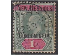 NEW HEBRIDES stamps 1908 EDWARD VIII 1Shilling green and carmine SG.9 used -F295