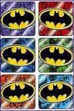 Batman Stickers x 6 - Birthday Favours Foil Design Super Heros DC Comics Logo