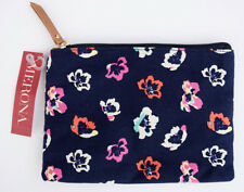 MERONA Navy Blue Floral Clutch Coin Purse or Small Cosmetic Bag, NWT