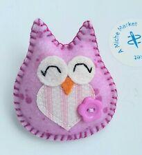 Owl Brooch Handmade Felt Gift Present Badge Teacher Thank You Raspberry Stripe