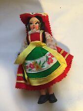 "1950s Vintage Collectible 4.5"" Doll European dark hair Housewife Antique Unique"