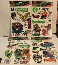 4 NOS 1996 GOOSEBUMPS WINDOW CLING COLOR CLINGS ANIMATION STICKER SHEETS NEW