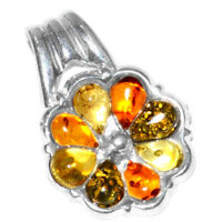 3.1g Authentic Baltic Amber 925 Sterling Silver Pendant Jewelry N-A1656